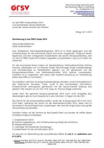 An alle ÖRSV Kaderathleten 2014 und Spartenleiter der ...