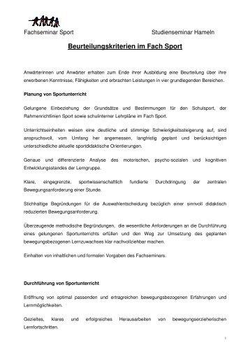Beurteilungskriterien im Fach Sport - nline