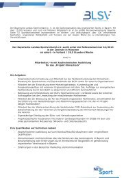 Der Bayerische Landes-Sportverband e.V. sucht unter der ... - blsv