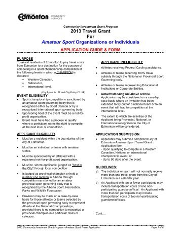 2013 Sports Travel Grant Guide and Application ... - City of Edmonton
