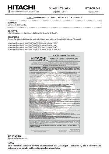 BT RCU 042 i INFORMATIVO NOVO CERTIFICADO DE GARANTIA