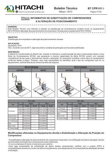 BT CPR 011 i SUBSTITUIÇÃO DE COMPRESSORES - Hitachi Ar ...