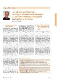 100 Jahre Sprachheilschule – Errungenschaften und ...