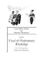 a brochure outlining the full programme - Hitchin Thespians