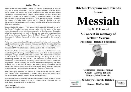 Concert Programme - Hitchin Thespians