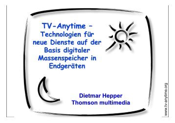 TV-Anytime im Überblick - Hitech Projects