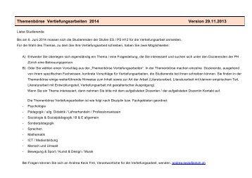 Themenbörse Vertiefungsarbeiten 2014 - StudiWeb der PH Zürich