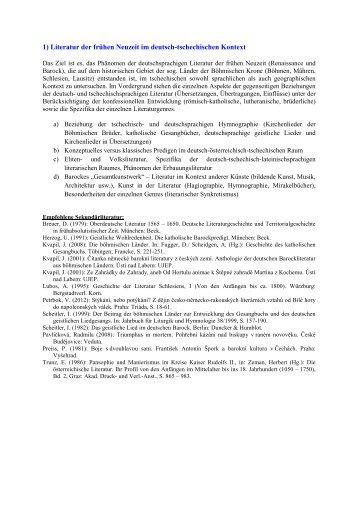 1) Literatur der frühen Neuzeit im deutsch-tschechischen ... - FF UJEP