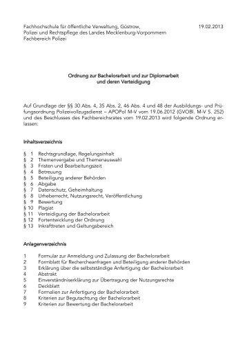 Ordnung Zur Bachelor Und Diplomarbeit Und Deren Verteidigung