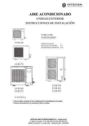 Instalación de la unidad interior - Hitecsa
