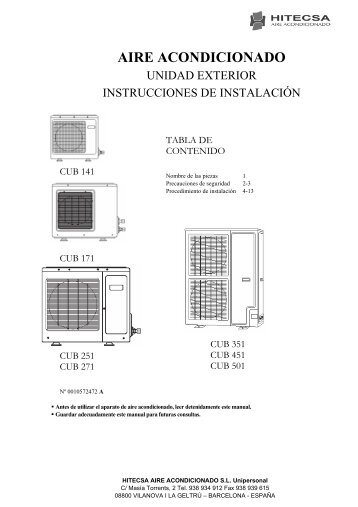 Procedimiento de instalación - Hitecsa