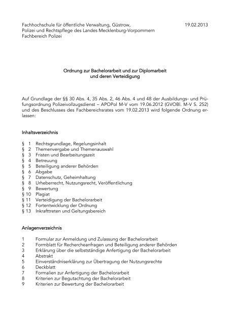 Ordnung zur Bachelor- und Diplomarbeit und deren Verteidigung