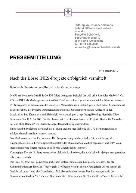 PRESSEMITTEILUNG - Beinbrech