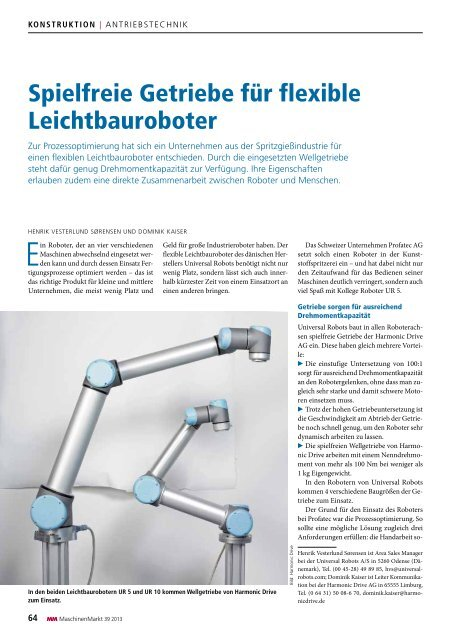 Spielfreie Getriebe für flexible Leichtbauroboter - Harmonic Drive AG