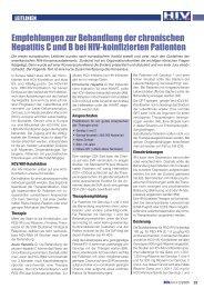 Empfehlungen zur Behandlung der chronischen ... - HIV & More