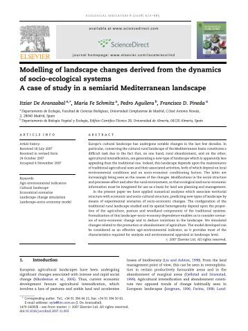 Modelling of landscape changes derived from the dynamics of socio ...