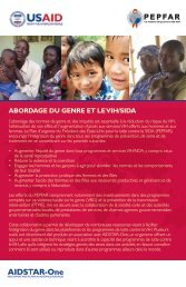 ABORDAGE DU GENRE ET LE VIH/SIDA - AIDSTAR-One