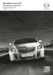 Insignia OPC Preisliste - Opel Schweiz
