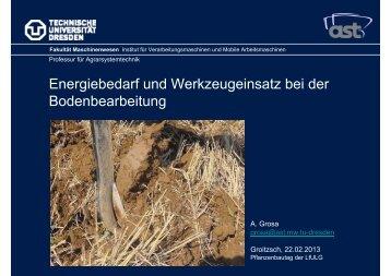 Energiebedarf und Werkzeugeinsatz bei der Bodenbearbeitung