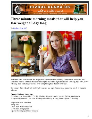 Three minute morning meals that will help you ... - Hizbul Ulama UK