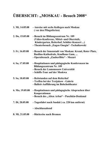 """ÜBERSICHT: """"MOSKAU - Besuch 2008"""""""