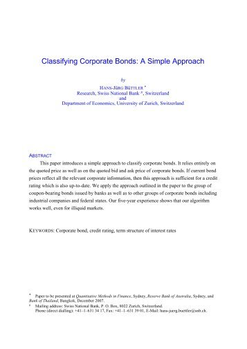 Classifying Corporate Bonds: A Simple Approach