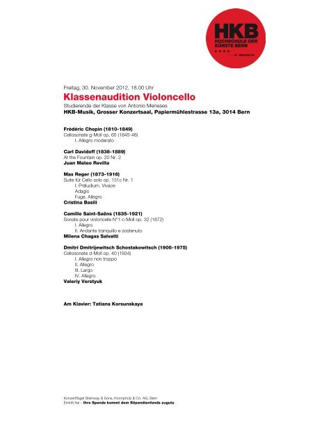 Klassenaudition Violoncello