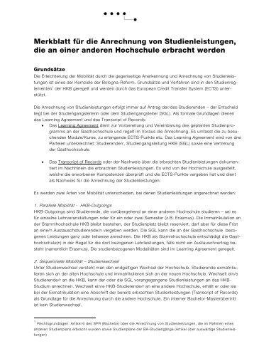 Merkblatt für die Anrechnung von Studienleistungen, die an einer ...