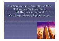 Bachelor in Conservation - Hochschule der Künste Bern