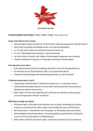 Schwerhörigkeit bei Kindern - Amplifon Deutschland GmbH