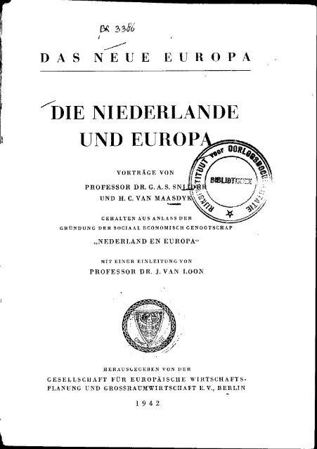 """""""DIE NIEDERLANDE UND EUROPA**^ ~~ T T J"""