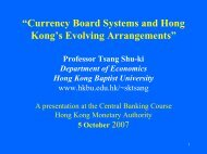 """""""Currency Board Systems and Hong Kong's Evolving Arrangements"""""""