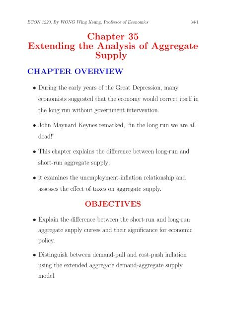 Chapter 35 Extending the Analysis of Aggregate Supply