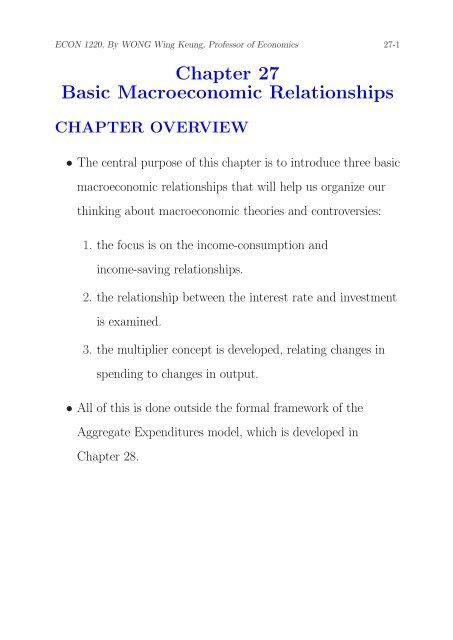 Chapter 27 Basic Macroeconomic Relationships