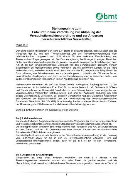 Stellungnahme zum Entwurf für eine Verordnung zur Ablösung der ...