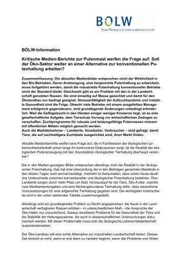 BÖLW-Information - Bund Ökologische Lebensmittelwirtschaft