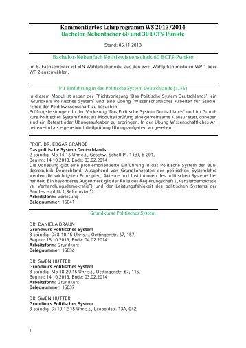 KVV BA-Nebenfach Politikwissenschaft WS 2013/14 - Geschwister ...
