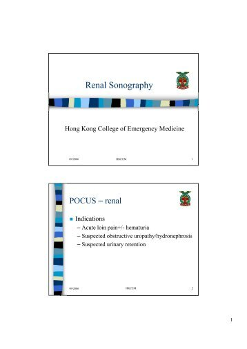 Renal Sonography - Hong Kong College of Emergency Medicine