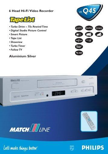 6 Head Hi-Fi Video Recorder Aluminium Silver - Philips