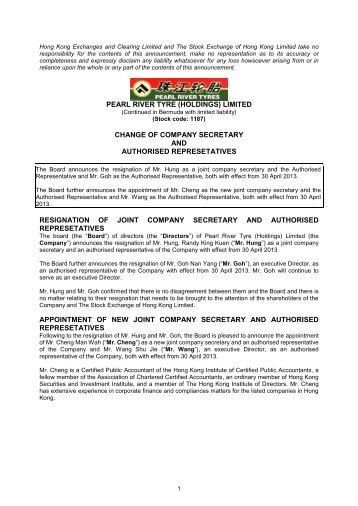change of company secretary and authorised ... - HKExnews