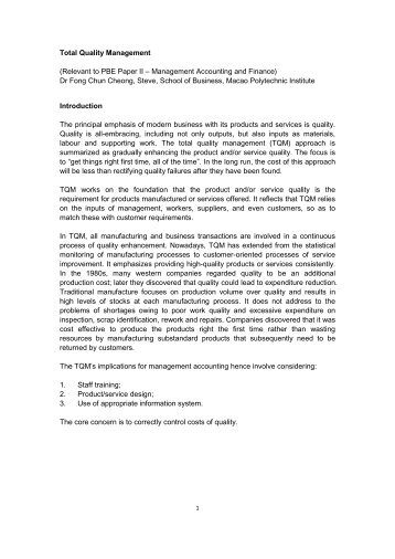total quality management research papers - total quality management ...
