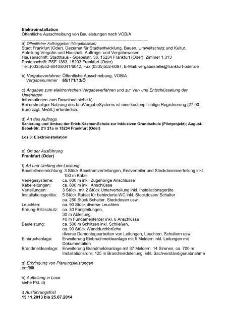 Stahlbauarbeiten öffentliche ausschreibung von. Frankfurt.