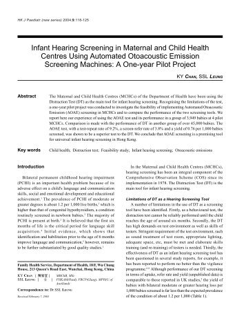 Infant Hearing Screening in Maternal and Child Health Centres ...