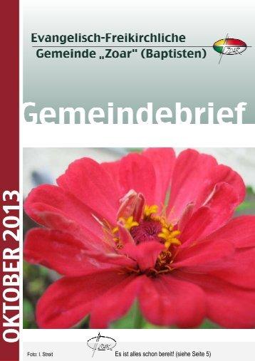 """Oktober 2013 - Evangelisch-Freikirchlichen Gemeinde """"ZOAR"""""""