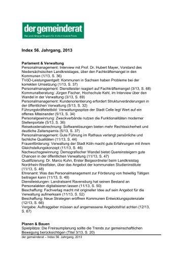Index 56. Jahrgang, 2013 - Der Gemeinderat