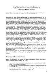 Empfehlungen für die inhaltliche Gestaltung wissenschaftlicher ...