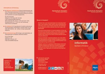 Informationsbroschüre Informatik (Bachelor) - Hochschule Kempten