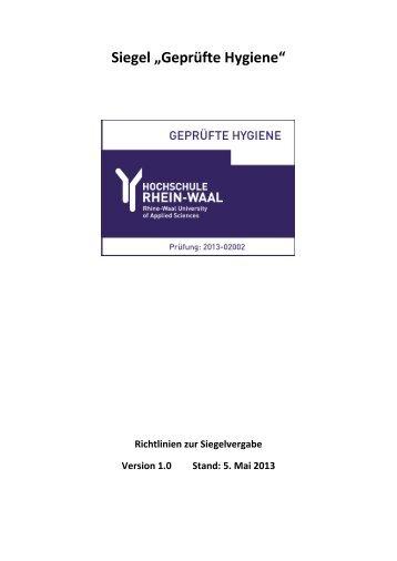 Richtlinien zur Siegelvergabe - Hochschule Rhein-Waal