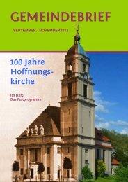 Gemeindebrief für September-November 2013 - Hoffnungskirche zu ...