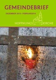 Gemeindebrief für Dezember 2013-Februar 2014 - Hoffnungskirche ...